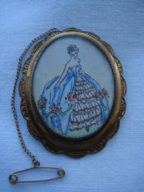 1950's handpainted Crinoline Lady Brooch by TLM